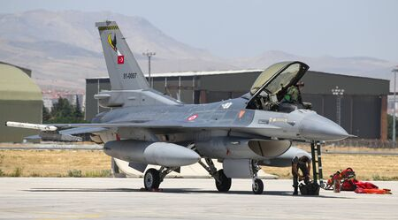 KONYA, TURKEY - JUNE 26, 2019: Turkish Air Force General Dynamics F-16C Fighting Falcon (CN 4R-87) in Konya Airport during Anatolian Eagle Air Force Exercise