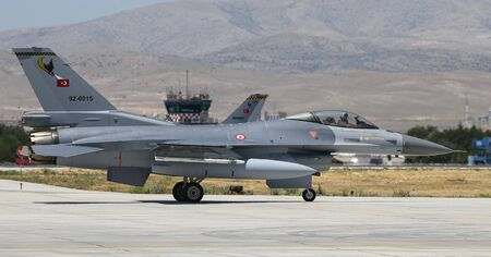 KONYA, TURKEY - JUNE 26, 2019: Turkish Air Force General Dynamics F-16C Fighting Falcon (CN 4R-116) taxi in Konya Airport during Anatolian Eagle Air Force Exercise Editorial