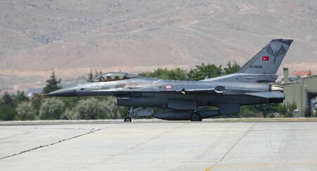 KONYA, TURKEY - JUNE 26, 2019: Turkish Air Force General Dynamics F-16C Fighting Falcon (CN HC-2) taxi in Konya Airport during Anatolian Eagle Air Force Exercise