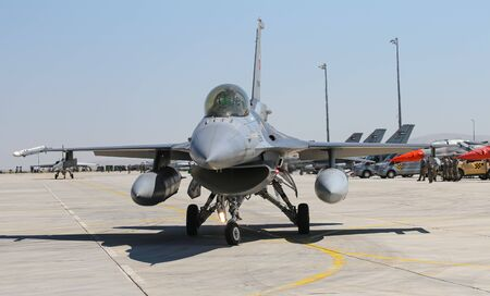 KONYA, TURKEY - JUNE 26, 2019: Turkish Air Force General Dynamics F-16C Fighting Falcon (CN 4R-87) taxi in Konya Airport during Anatolian Eagle Air Force Exercise