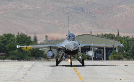 KONYA, TURKEY - JUNE 26, 2019: Jordan Air Force General Dynamics F-16BM Fighting Falcon (CN 6E-25) taxi in Konya Airport during Anatolian Eagle Air Force Exercise