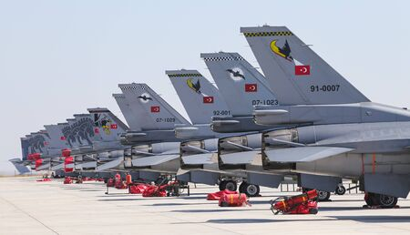 KONYA, TURKEY - JUNE 26, 2019: Fighter Aircrafts in Konya Airport during Anatolian Eagle Air Force Exercise