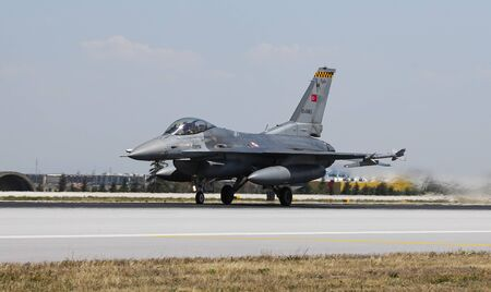 KONYA, TURKEY - JUNE 26, 2019: Turkish Air Force Lockheed Martin F-16C Fighting Falcon (CN HC-7) takes off from Konya Airport during Anatolian Eagle Air Force Exercise Editorial