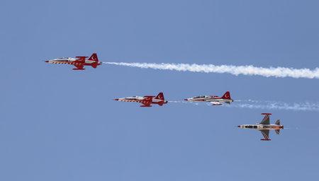 KONYA, TURKEY - JUNE 26, 2019: Turkish Air Force aerobatic demonstration team Turkish Stars in Konya Airport during Anatolian Eagle Air Force Exercise