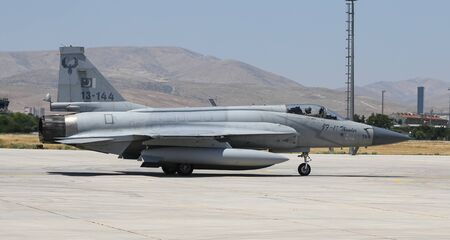 KONYA, TURKEY - JUNE 26, 2019: Pakistan Air Force Pakistan JF-17 Thunder taxi in Konya Airport during Anatolian Eagle Air Force Exercise Editorial
