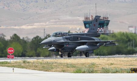KONYA, TURKEY - JUNE 26, 2019: Turkish Air Force Lockheed Martin F-16D Fighting Falcon (CN NW-15) taxi in Konya Airport during Anatolian Eagle Air Force Exercise