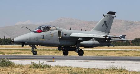 KONYA, TURKEY - JUNE 26, 2019: Italian Air Force AMX International AMX (CN IX109) taxi in Konya Airport during Anatolian Eagle Air Force Exercise Editorial