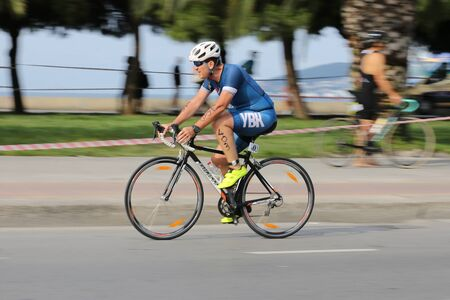 ISTANBUL, TURKEY - AUGUST 04, 2019: Undefined athlete competing in cycling component of Istanbul ETU Triathlon Balkan Championships Editorial