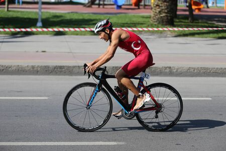 ISTANBUL, TURKEY - AUGUST 03, 2019: Undefined athlete competing in cycling component of Istanbul ETU Triathlon Balkan Championships