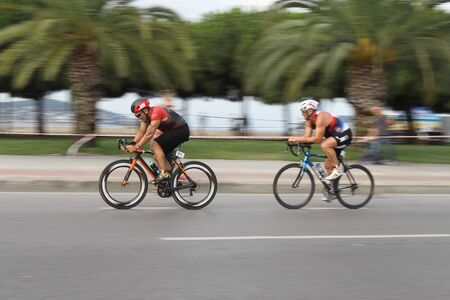 ISTANBUL, TURKEY - AUGUST 04, 2019: Athletes competing in cycling component of Istanbul ETU Triathlon Balkan Championships