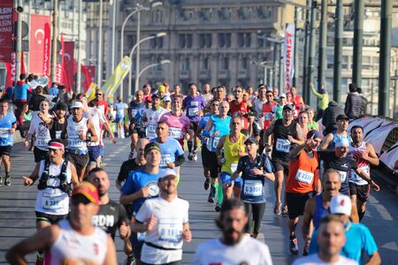 ISTANBUL, TURKEY - NOVEMBER 03, 2019: Athletes running in 41. Istanbul marathon which includes two continents in one race. Marathon starts on the Asian side and finishs in European side of Istanbul. Éditoriale