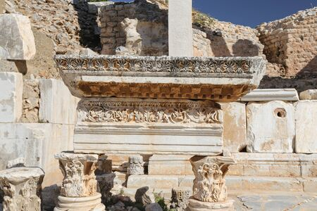 Ruins in Ephesus Ancient City in Izmir, Turkey Stock Photo