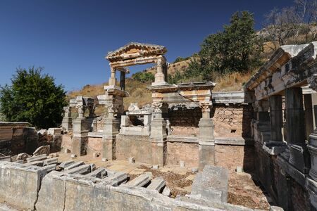 Fountain of Trajan in Ephesus Ancient City, Izmir City, Turkey Stock Photo