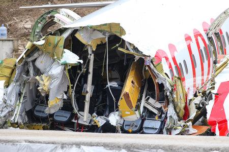 ISTANBUL, TURKEY - FEBRUARY 06, 2020: Pegasus Airlines Boeing 737-86J (CN 37742) crashed in Sabiha Gokcen Airport during landing. Editorial