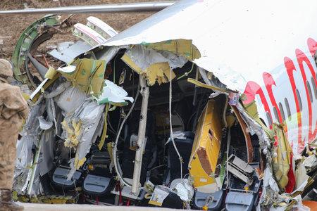 ISTANBUL, TURKEY - FEBRUARY 06, 2020: Pegasus Airlines Boeing 737-86J (CN 37742) crashed in Sabiha Gokcen Airport during landing.