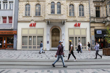 ISTANBUL, TURKEY - MAY 13, 2020: Shops are closed in Istiklal Avenue during Coronavirus Pandemic