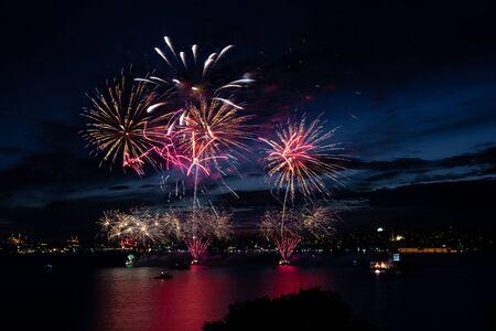 Fireworks over Bosphorus Strait, Istanbul City, Turkey Stock Photo