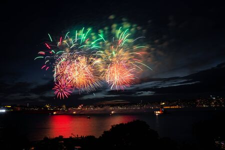 Fireworks over Bosphorus Strait, Istanbul City, Turkey