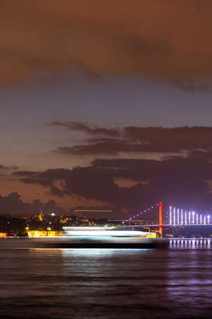 Long exposure of a Ferry in Bosphorus Strait, Istanbul City, Turkey