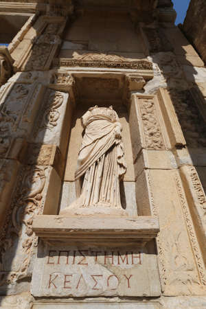 Episteme, knowledge Statue in Ephesus Ancient City, Selcuk Town, Izmir City, Turkey Stock Photo