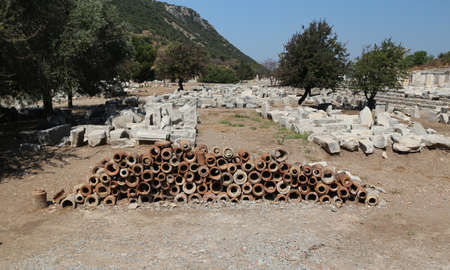 Ancient Sewerage Pipes in Ephesus Ancient City, Selcuk Town, Izmir City, Turkey Stock Photo
