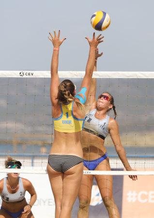 IZMIR, TURKEY - SEPTEMBER 26, 2020: Undefined athletes of Italian and Ukraine teams during quarter final match of U22 Beach Volleyball European Championships in Selcuk Pamucak Beach.