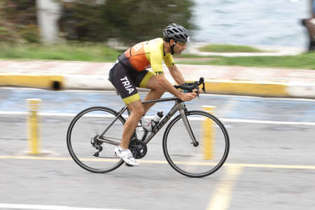 ISTANBUL, TURKEY - OCTOBER 18, 2020: Undefined athlete competing in cycling component of Istanbul Sprint Triathlon