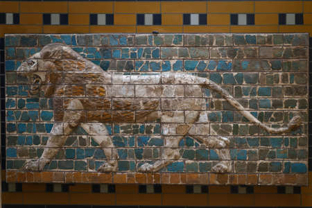 Wall decoration from Ishtar Gate in Istanbul Archaeology Museum, Istanbul City, Turkey
