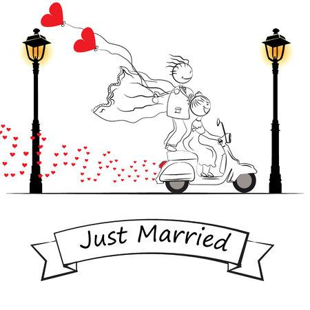 Just married cartoon motorbike