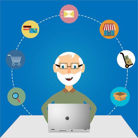 old pc: Oldman online shopping