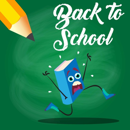 Back to school book escape from pencil Illustration
