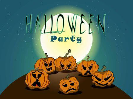 A set of halloween pumpkins and moon