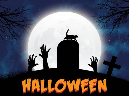Grave stone, halloween moon and zombie arms