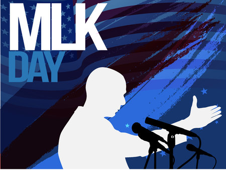 Martin Luther King Day flyer, banner or poster. Holiday background with waving flags, text and hands up. Vector flat illustration.old vintage microphone
