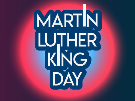 Martin Luther King Day flyer, banner or poster. Holiday background with waving flags, text and hands up. Vector flat illustration. old vintage microphone
