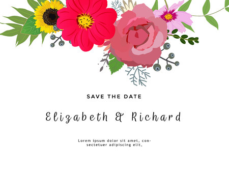 Marriage invitation card with custom sign and flower frame over wooden background. Vector illustration.  イラスト・ベクター素材