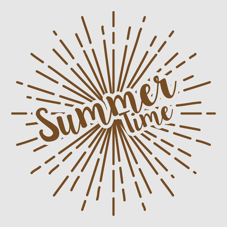 Summer time text typography sun circle retro vintage design Illustration