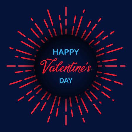 Happy Valentines Day. Sunburst vintage circle texture. Romantic black blue wallpaper. Retro design elements. Vector illustration. EPS 10
