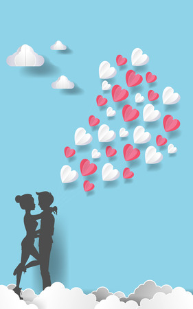 Silhouette couple man and woman kissing together with white, pink balloons. blue color sky background in paper art style. Vector illustrator. EPS 10