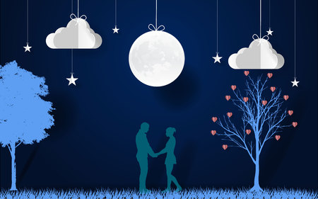 Romantic scene with trees, stars, clouds and moon vector illustration