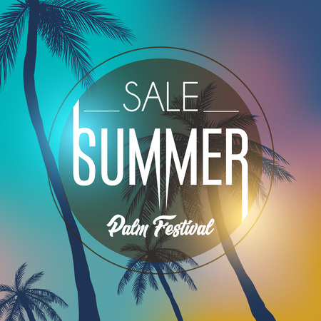 Summer california tumblr backgrounds set with palms, sky and sunset. Summer placard poster flyer invitation card.