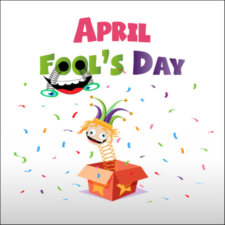 Happy Fool's Day. idiot, comic face in cartoon box with confetti's vector illustration. Ilustração