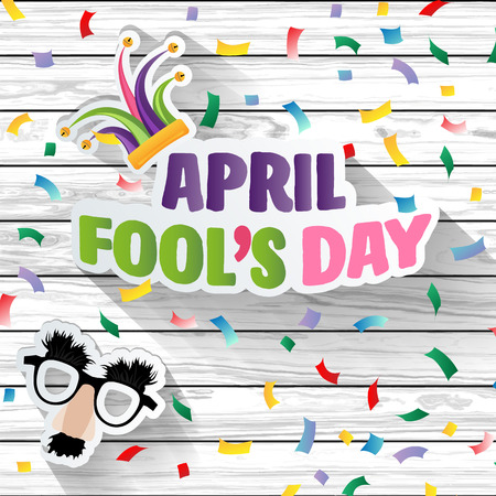 April fool's day Typography on Colorful wood design template  vector illustration.