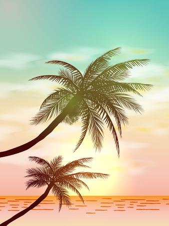 Sfondi tropicali di estate con palme, cielo e tramonto. Carta di invito flyer poster estivo. Estate. illustrazione vettoriale EPS 10