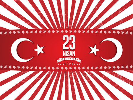 Vector illustration of the cocuk baryrami 23 nisan , translation: Turkish April 23 National Sovereignty and Childrens Day, graphic design to the Turkish holiday Çizim