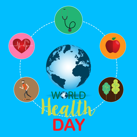 World health day concept with hand draw lettering and healthy lifestyle illustration vector.