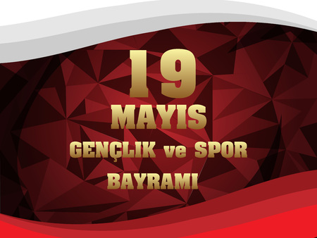 Vector illustration 19 mayis Ataturku Anma, Genclik ve Spor Bayramiz , translation: 19 may Commemoration of Ataturk, Youth and Sports Day, graphic design to the Turkish holiday, children logo.