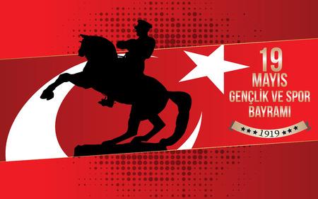 19 mayis Ataturku Anma, Genclik ve Spor Bayrami greeting card design. Translation: 19 may Commemoration of Ataturk, Youth and Sports Day. Vector illustration.