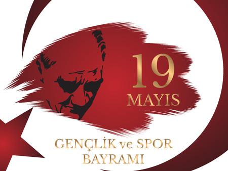 Vector illustration 19 mayis Ataturku Anma, Genclik ve Spor Bayramiz , translation: 19 may Commemoration of Ataturk, Youth and Sports Day, graphic design to the Turkish holiday. Çizim