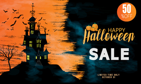 Halloween Sale vector banner with lettering and detailed engraving background. Pumpkin, witch hat, skull, cat hand drawn elements. Great for voucher, offer, coupon, holiday sale. Illustration